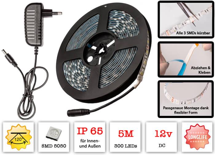 5 meter lumira led streifen strip 300 smds typ 5050 120 mit klebestreifen ip65. Black Bedroom Furniture Sets. Home Design Ideas