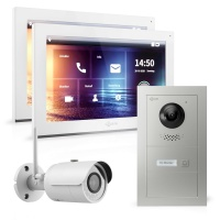 GOLIATH Hybrid IP Video Sprechanlage mit App | 1-Familie | 2x 10 Zoll HD | Unterputz | 180° Kamera