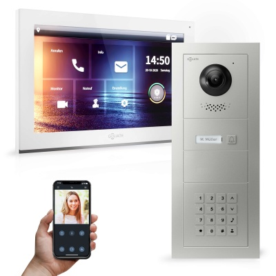 GOLIATH Hybrid IP Video Türsprechanlage | App | 1-Familie | 10 Zoll HD | Keypad | 180° Kamera