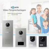 GOLIATH Hybrid IP Video Türsprechanlage | App | Silber | 1-Familie | 10 Zoll | Unterputz | 180 Grad
