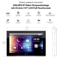 GOLIATH Hybrid IP Video Türsprechanlage | App | Silber | 1-Familie | 2x 10 Zoll | Aufputz | 180 Grad