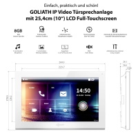 GOLIATH Hybrid IP Video Türsprechanlage | App | 1-Familie | 3x 10 Zoll HD | Unterputz | 180 Grad